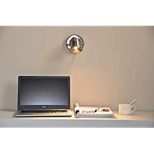 Lcaoful 6 in. LED 6W Accent Uplight, Directional Adjustable Portable Desk Spot Light for Household Highlight Room Details, Multi-Purpose for Desk & Wall Mount with On/Off Switch Satin Nickel Finish