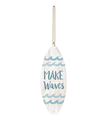 P. GRAHAM DUNN Make Waves Whitewash Surfboard 1.5 x 4.5 Wood Hanging Car Charm