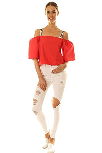 Womens Love Strap Off the Shoulder Bell Sleeve Crop Top (Large, Red)