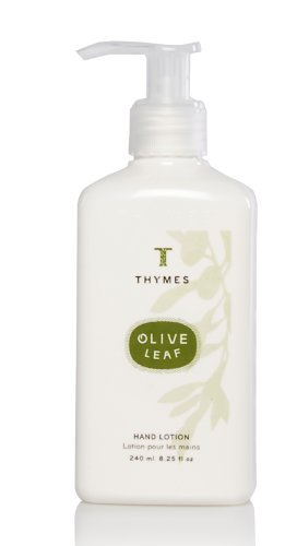 Thymes - Olive Leaf Hand Lotion with Pump - With Moisturizing Shea Butter, Vitamin E and Olive Oil - 8.25 oz