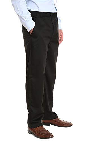 (Pembrook Men's Elastic Waist Casual Pants Twill Pants with Zipper and Button - XL - Black)