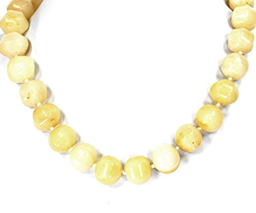 Yellow Aventurine Nugget Beads Hand Knotted Necklace with Silver Tone Clasp 20