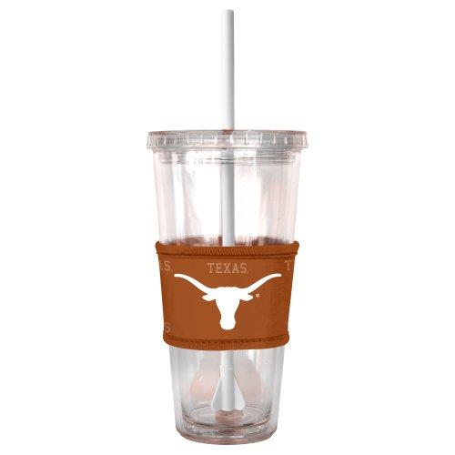 NCAA Texas Longhorns Tumbler with Neoprene Sleeve and Straw, (Texas Longhorns Glass)