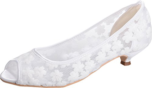12 Fashion Lace Heel Dress Toe Sandals Bridesmaid Smart Peep Slip On Wedding Bride Work 5 White 37 Low Ladies 0700 Eu Prom Comfortable Party qdaztd