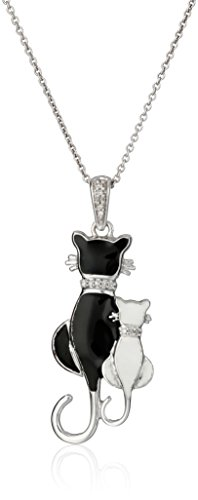 Sterling Silver Diamond Accent Enamel Cat Pendant Necklace