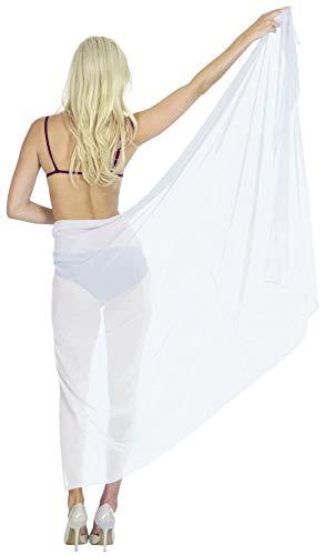 LA LEELA Sheer Sheer Beach Wrap Sarongs for Women Cover up White_C285 88