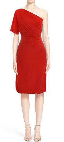 MACloth Women One Shoulder Jersey Cocktail Dress Short Wedding Party Formal Gown Rojo