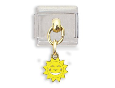 (Sun with Happy Face Dangle Italian Charm Bracelet Link)