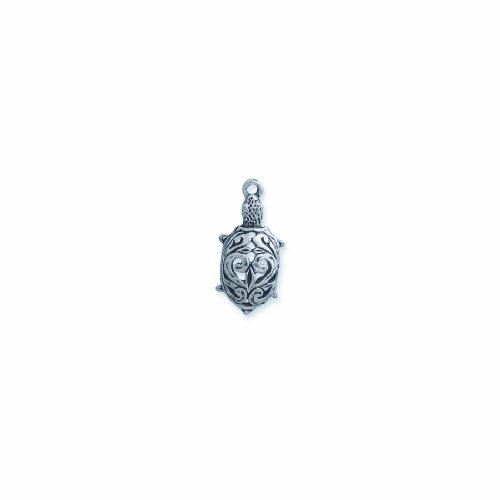 Pewter Filigree Bead - Shipwreck Beads Pewter Turtle Charm with Filigree, Silver, 13 by 26mm, 5-Piece