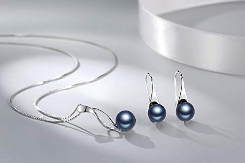 OneSight Sterling Silver Freshwater Cultured Pearl Jewelry Necklace Earrings Set for Women (White Pearl Or Black Pearl)