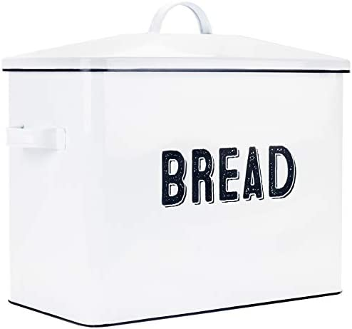 XL Size Bread Storage Container with Matching Biscuit Tin in White Metal Bread Boxes For Kitchen Counter Extra Large Vintage Design Farmhouse Bread Box