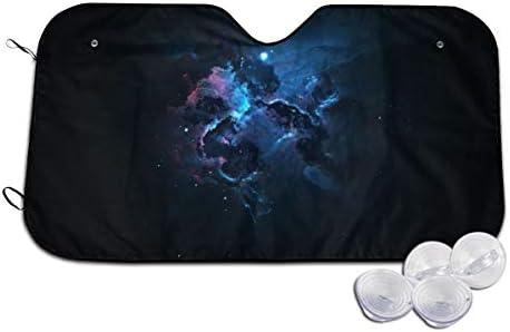 サンシェード 宇宙 銀河 星雲 暗闇 車用 日除け 車ガラス用 フロント紫外線/日差 遮光 断熱 吸盤4個付 簡単取付 収納