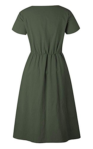 with Women's Button Midi Green Sleeve Style Oops Long Dress Down Army Swing Short Sleeve Casual 0864 Dresses Pockets x1RqABwP