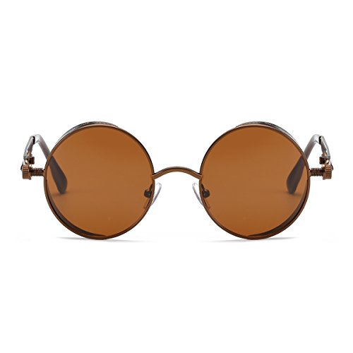 Steampunk Round Polarized Sunglasses, Vintage Hippie Circle Sunglasses with Metal Frame for Men Women (Brown) - Brown Carved Vines