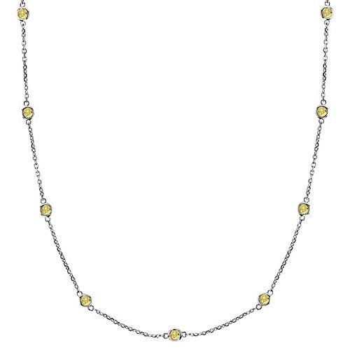 Fancy Yellow Canary Diamond Station Necklace 14k White Gold (0.75ct) - Canary Bezel