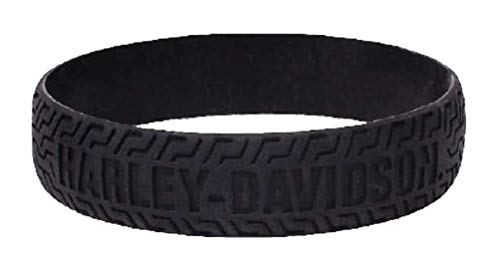 Harley-Davidson Embossed H-D Tire Track Silicone Wristband, Black WB51622