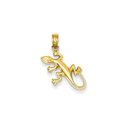 14k Gold Gecko - Mia Diamonds 14k Solid Yellow Gold Polished Gecko Pendant (17mm x 15mm)