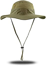 KRATARC Outdoors Sun Hat Fishing Cap Breathable Lightweight Wide Brim with Neck Drawstring for Men Women Unise