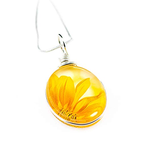 "(Yellow Sunflower Necklace, Handmade Glass Pendant on 18"" Sterling Silver Plated Chain, Jewelry for)"