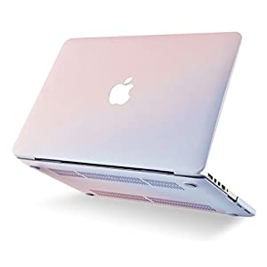 KEC MacBook Pro Retina 13 Inch Case (2015) Plastic Hard Shell Cover A1502 / A1425 with KeyBoard Cover + Screen Protector 3 in 1 (Pale Pink & Serenity Blue)