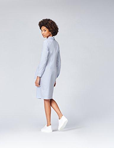 White Blue Vestito FIND Cotone in Scamiciato Blu Donna C0pwzqUwx