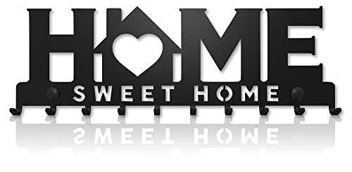 Key Holder for Wall Home Sweet Home (10-Hook Rack) Decorative, Metal Hanger for Front Door, Kitchen, or Garage | Store House, Work, Car, Vehicle Keys | Vintage Decor