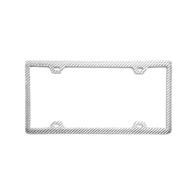 BLVD-LPF OBEY YOUR LUXURY 100% Real Carbon Fiber License Plate Frame with Slim 4 Holes & Matching Screw Caps | Silver License Plate Cover Holder | 1 Frame: Automotive