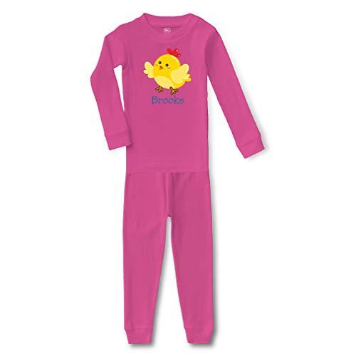 Personalized Custom Yellow Little Chicken Cotton Crewneck Boys-Girls Infant Long Sleeve Sleepwear Pajama 2 Pcs Set - Hot Pink, 24 Months ()