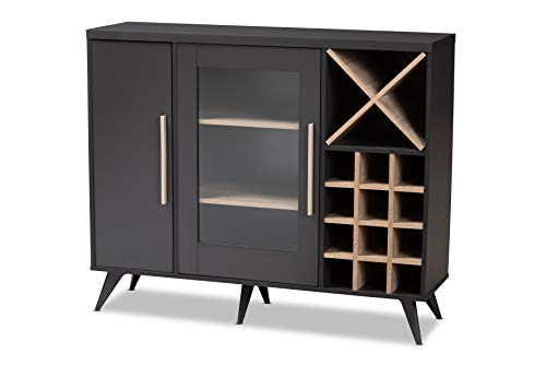 Baxton Studio 150-9004-AMZ Wine Cabinets Dark Grey/Oak for sale  Delivered anywhere in USA