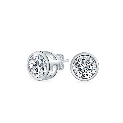 - .50 CT Round Solitaire Cubic Zirconia Bezel Set Stud Earrings For Men Women 925 Sterling Silver