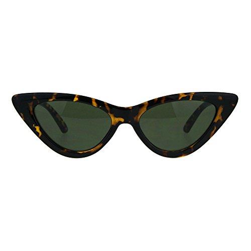 Plastic Cat Eye Sunglasses (Womens Classic Narrow Cat Eye Gothic Plastic Sunglasses Tortoise Green)