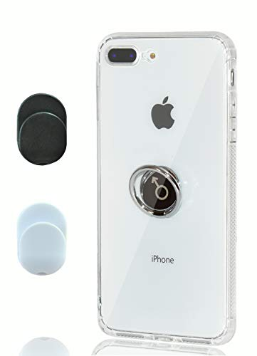 Chitri iPhone 8 Plus Case,7 Plus Case Clear, [Dust-Proof] with Ring Grip Holder Kickstand [Support Magnetic Car Mount] Transparent Soft TPU Slim Thin Cover for Apple iPhone 7 Plus / 8 Plus
