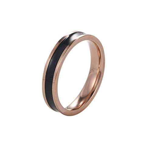 ANTONRIA Titanium Stainless Steel Silicone Groove Rings for Men Women Wedding Rings Sleek Design Comfortable Fit - Suitable for Everyday Life and All Occasions (Rose-Gold Black Silicone, 5) ()