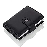 Smart wallet for color black leather and aluminum foil cards