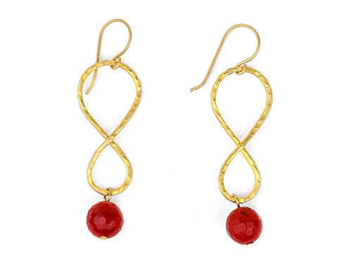 Handcraft Hammered Earrings (Stunning Infinity Hand-hammered Brass Earrings with Faceted Red Carnelian Stone)