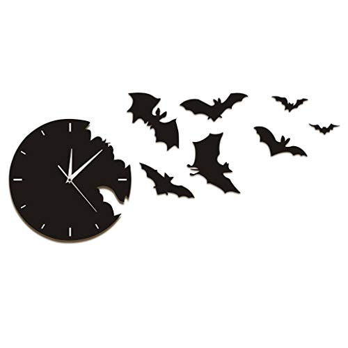 xushihanjjli Wall Clocks A Bat from The Escape Halloween Bat Silhouette Scary Bat Symbols Contemporary Black Can Well Decorate Home Office Coffee Bar Hotel Restaurant -