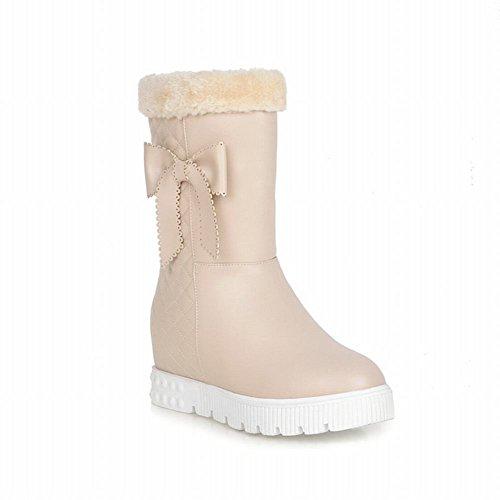 Carolbar Damesmode Sweet Warm Bows Winter Namaakbont Verborgen Hak Snowboots Beige