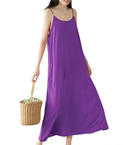 YESNO Women Casual Long Maxi Spaghetti Strap Slip Dress Loose Summer Sundress EHH