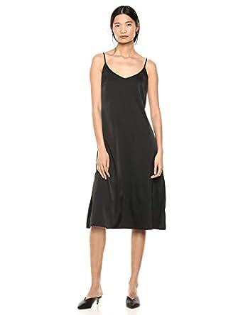 The Drop Ana Silky V-Neck Midi Slip Dress, Black, XS