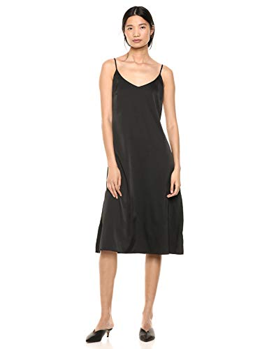 The Drop Women's Ana Silky V-Neck Midi Slip Dress, Black, L