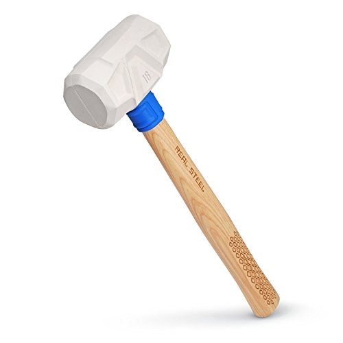 Real Steel 0315 White Rubber Mallet, Hickory Wood Handle, 16-Ounce