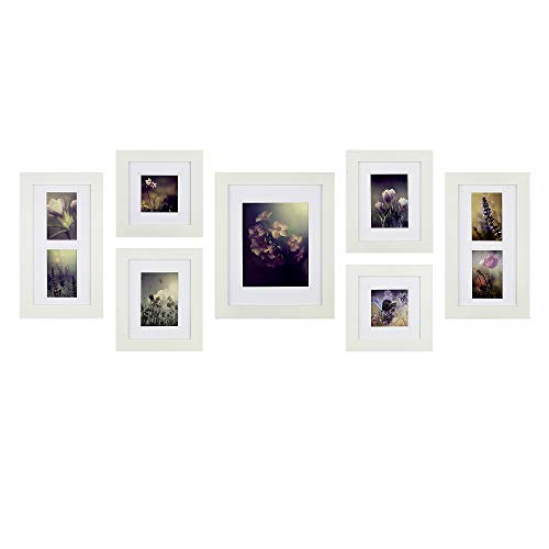 (Gallery Perfect 7 Piece White Wood Photo Wall Decorative Art Prints & Hanging Template Picture Frame Gallery Set, Multi,)