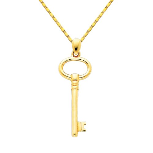 Wellingsale 14k Yellow Gold Polished Key to My Heart Charm Pendant with 1mm Snail Link Chain Necklace - 18