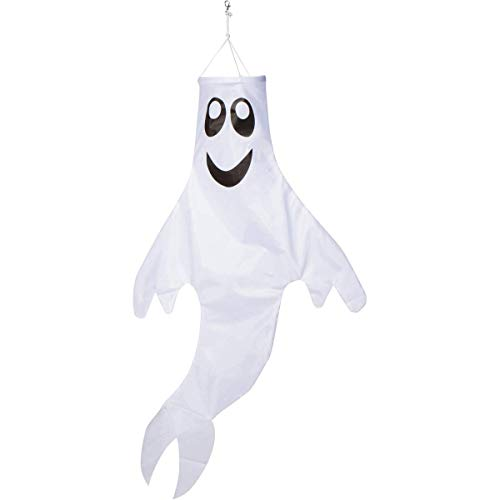Zcutt Home Goods 48 inch Ghost Windsock Outdoor Hanging Decoration - Spun Polyester Fabric - Includes swival Hanging -