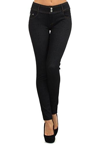 Women's Stretchy Jean Leggings (Black Double Classy, XXL)