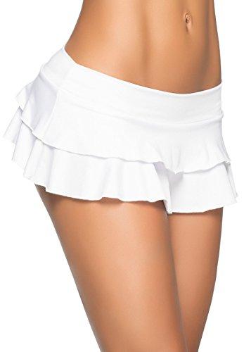 Mapalé by Espiral Women's Flirty Double Layered Ruffle Mini Skirt, White Small/Medium (Big Star Mini Skirt)