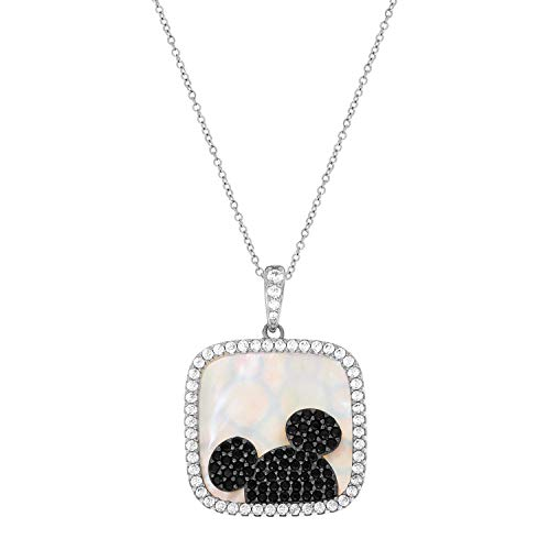 Disney Mickey Mouse Jewelry for Women and Girls, Sterling Silver Cubic Zirconia and Mother of Pearl Mickey Mouse Pendant Necklace, 18 Inch Chain, Mickey's 90th Birthday - Pearl Set Disney