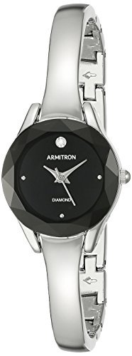 Diamond Silver Tone Watch - Armitron Women's 75/5327BKSV Diamond-Accented Dial Silver-Tone Bangle Watch