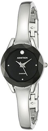 Armitron Women's 75/5327BKSV Diamond-Accented Dial Silver-Tone Bangle Watch