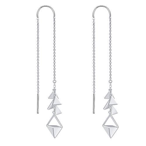 - YinShan 925 Sterling Silver Threader Dangle Drop Elegant Earring Ear Long Bar Chandelier Tassel Chain Retro Ear Line Jewelry for Women (Triangle)